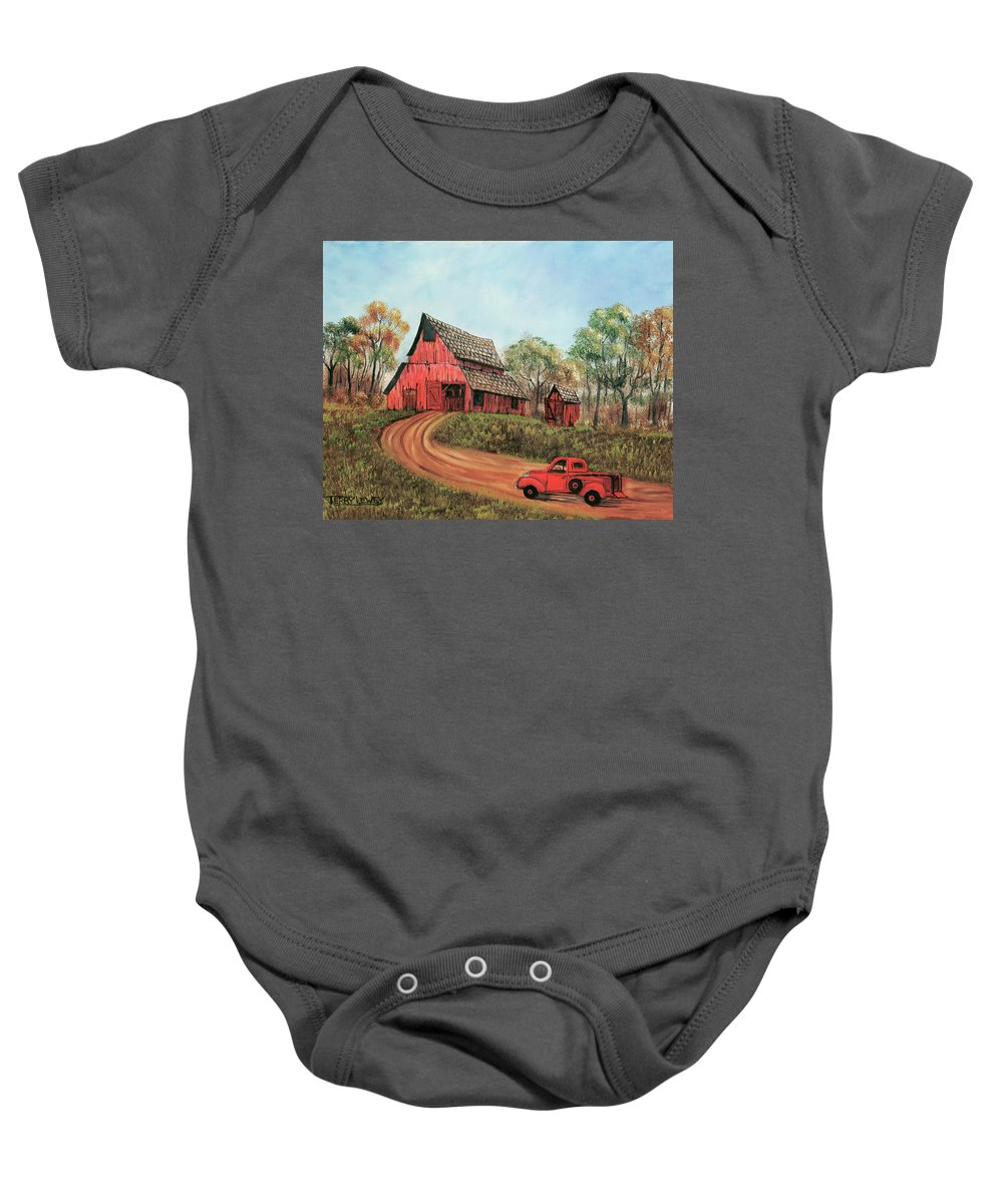 Old Barn Baby Onesie featuring the painting Old Red Barn by Terry Lewey