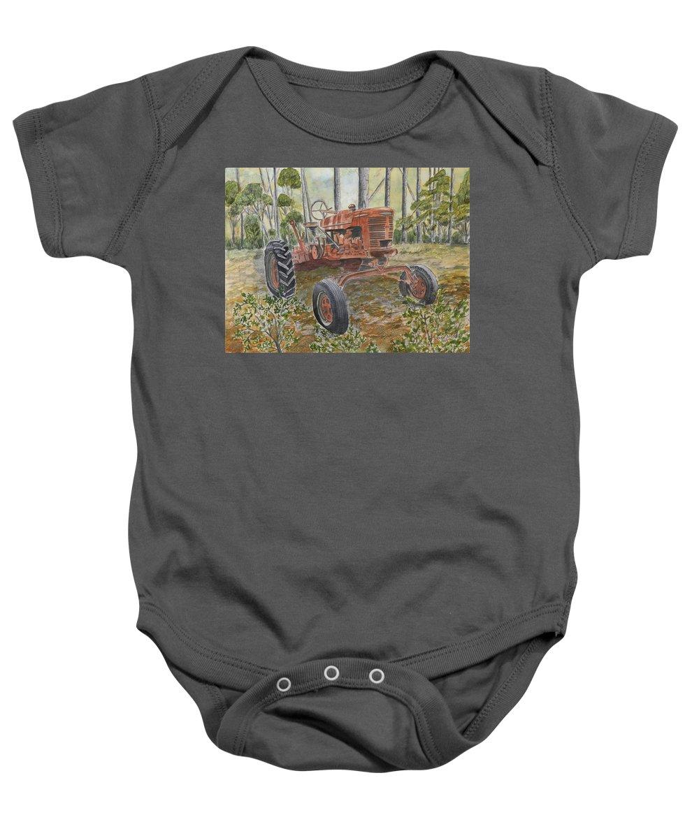 Old Baby Onesie featuring the painting Old Tractor Vintage Art by Derek Mccrea