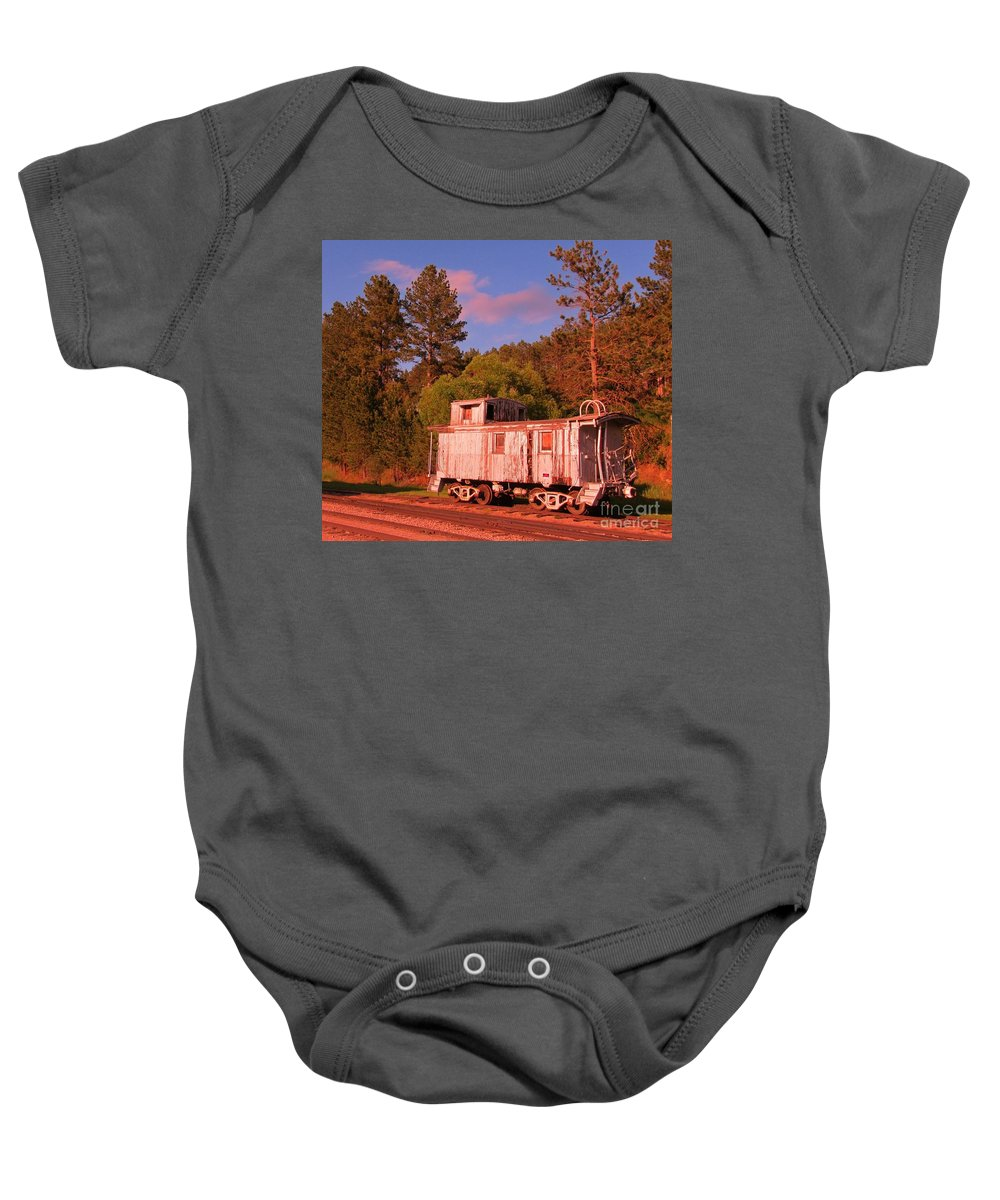 Train Art Baby Onesie featuring the photograph Old Train Caboose by John Malone