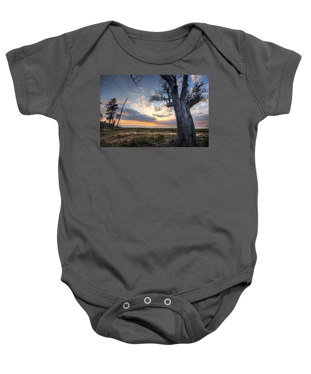 Alabama Baby Onesie featuring the digital art Old Tree Sunset Over Oyster Bay by Michael Thomas