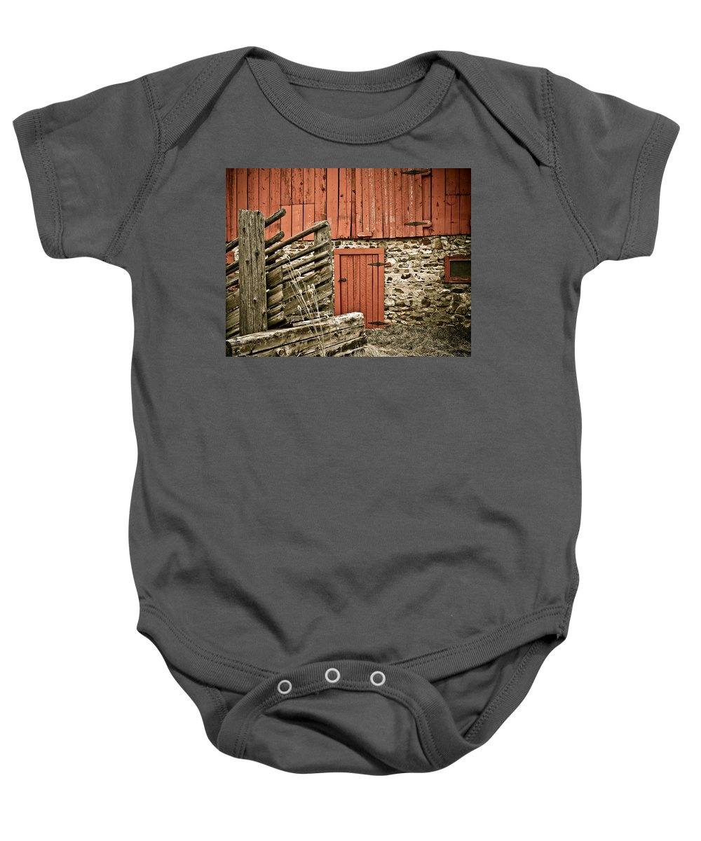 Old Baby Onesie featuring the photograph Old Wood by Marilyn Hunt