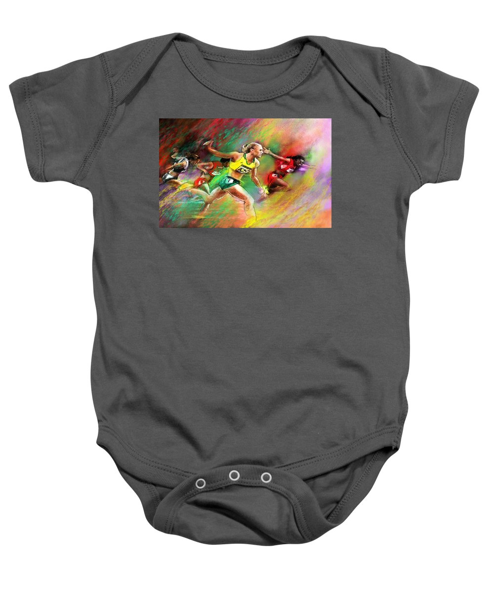 Sports Baby Onesie featuring the painting Olympics 100 Metres Hurdles Sally Pearson by Miki De Goodaboom