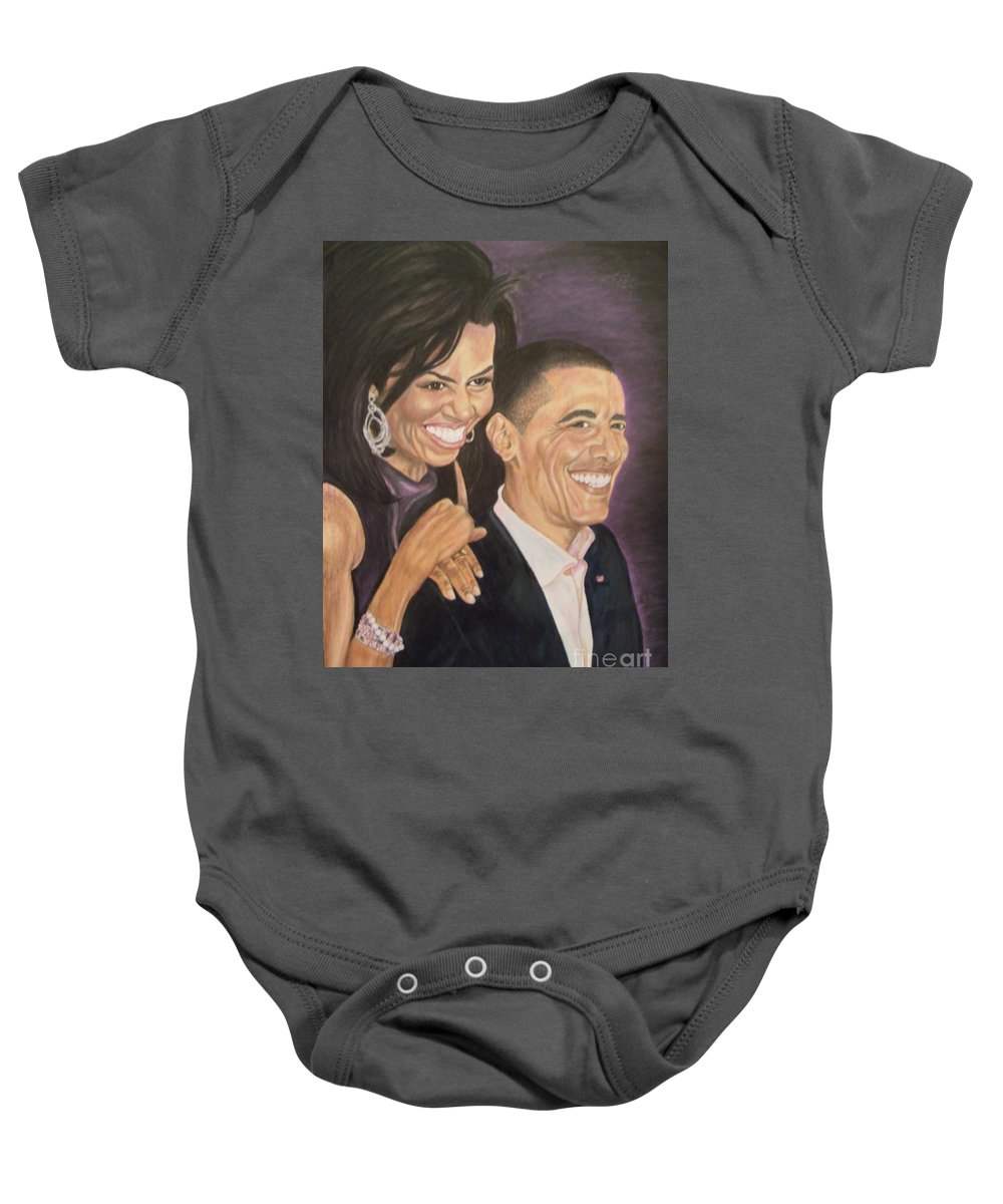 Portraits Baby Onesie featuring the painting Ombience Of Love The Obama by Arron Kirkwood
