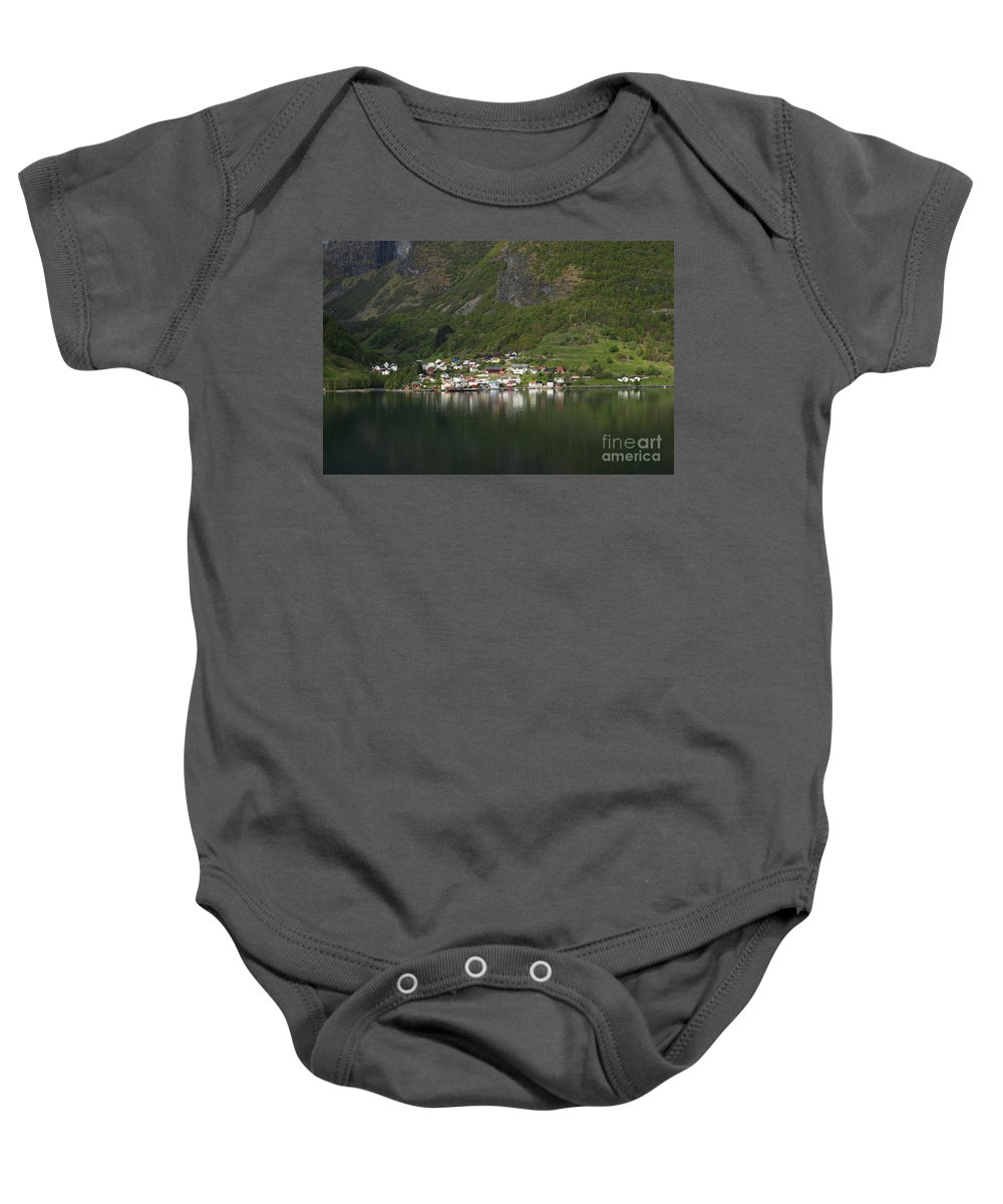 On The Edge Of The Fjord Baby Onesie featuring the photograph On The Edge Of The Fjord by Anne Gilbert