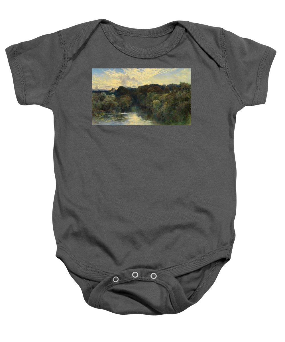 Sky Baby Onesie featuring the painting On The Greta Yorkshire 1890 by Keeley Halswelle