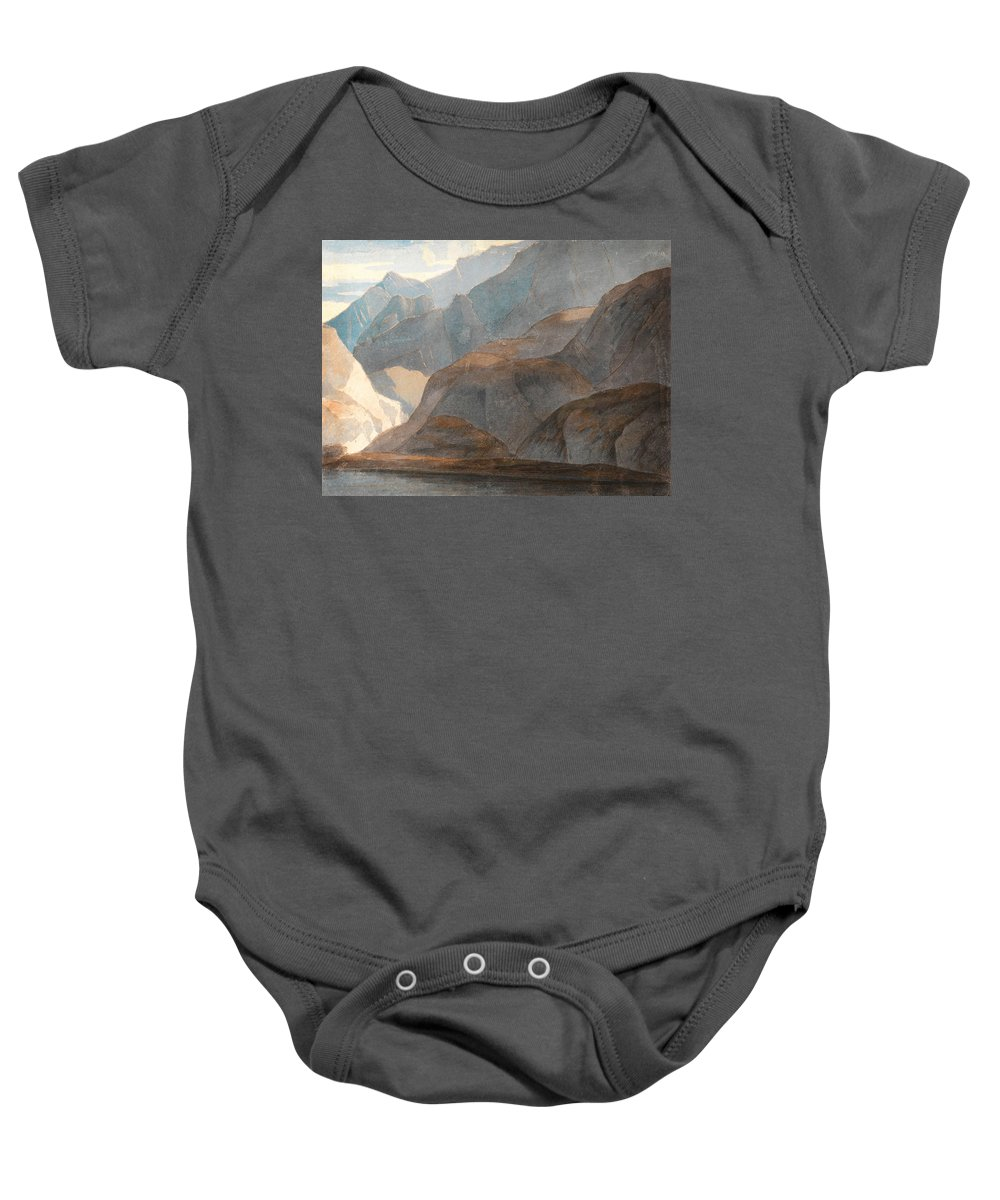 Francis Towne - On The Lake Of Como Baby Onesie featuring the painting On The Lake Of Como by Celestial Images