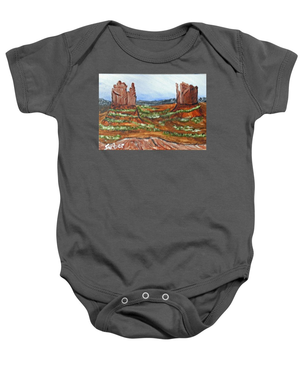 Rocks Baby Onesie featuring the painting On The Prairie by Suzanne Surber