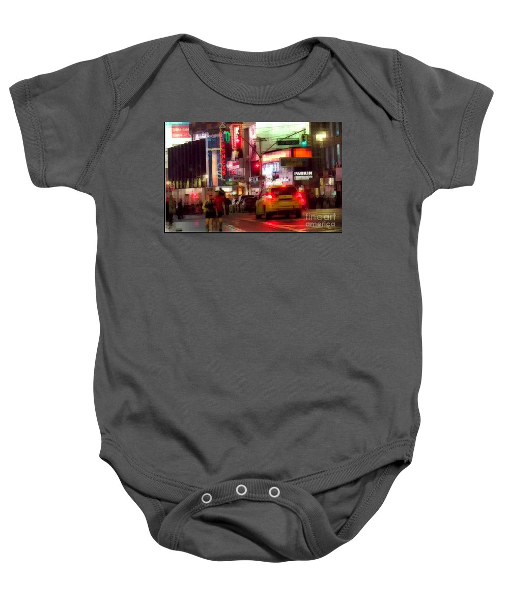 Taxi Baby Onesie featuring the photograph On The Town - Times Square by Miriam Danar