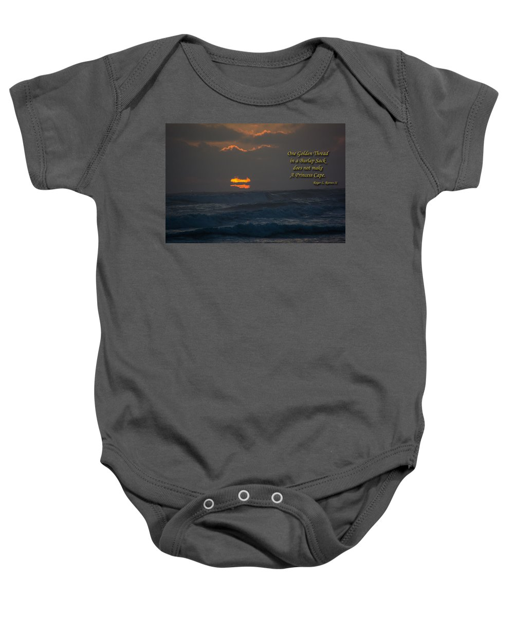 Quote Baby Onesie featuring the photograph One Golden Thread by Tikvah's Hope