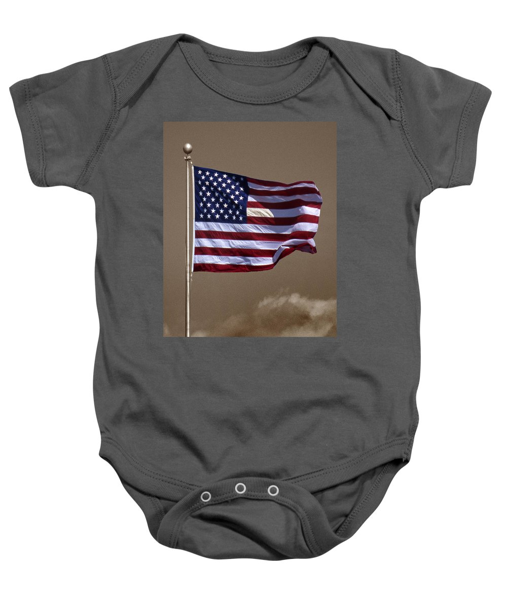 Flag Baby Onesie featuring the photograph One Nation by Skip Willits