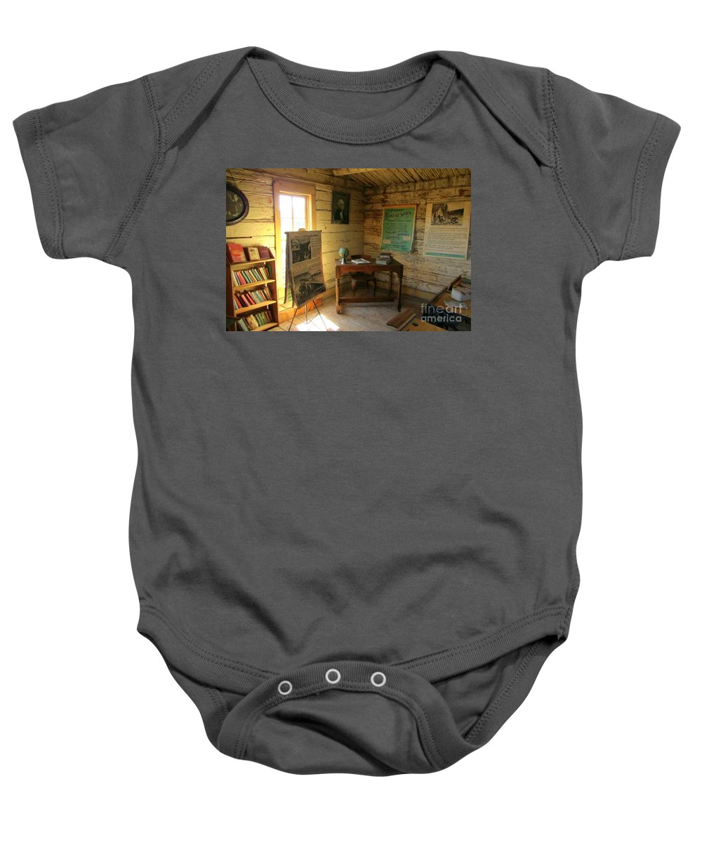 Education Baby Onesie featuring the painting One Room School by John Malone