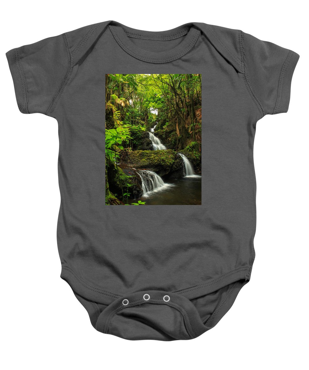 Waterfall Baby Onesie featuring the photograph Onomea Falls by James Eddy