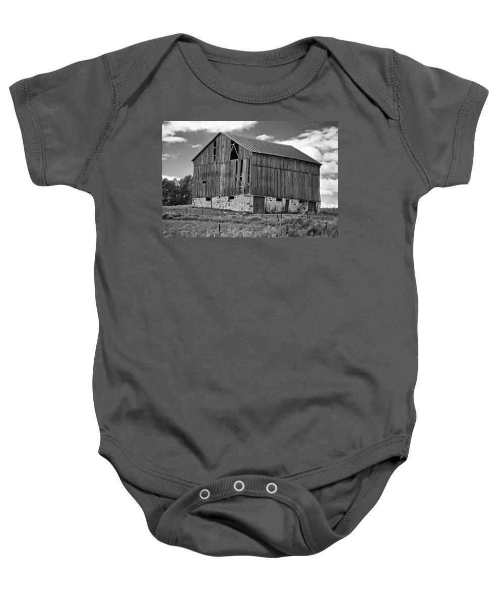 Rural Baby Onesie featuring the photograph Ontario Barn Monochrome by Steve Harrington