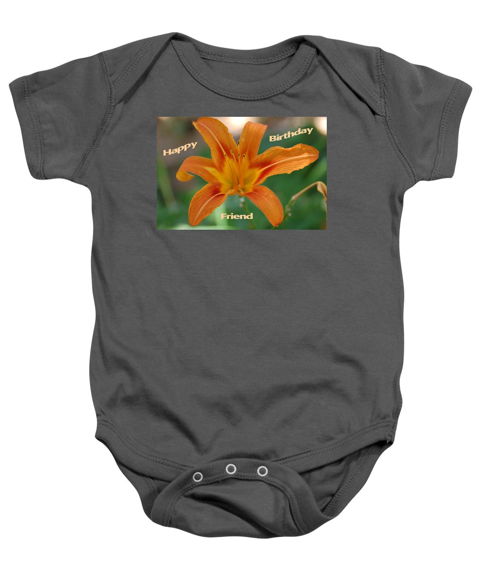 Flower Baby Onesie featuring the photograph Orange Lily Birthday by Aimee L Maher ALM GALLERY