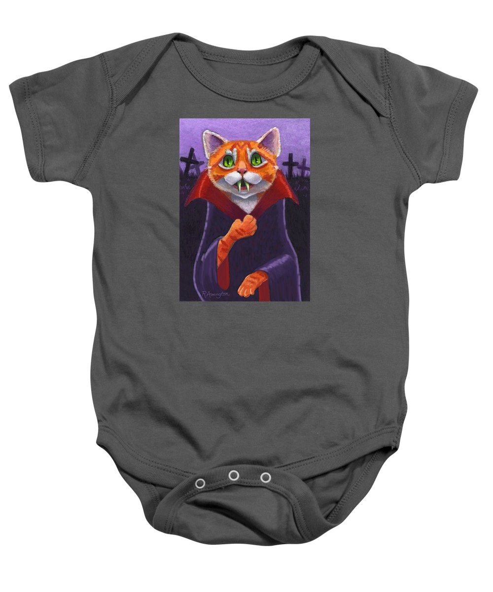 Cat Baby Onesie featuring the painting Orange Tabby Vampire Cat by Rachel Armington