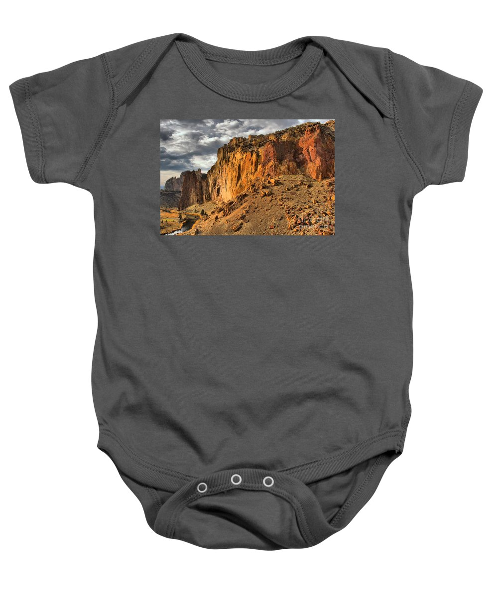 Smith Rock Baby Onesie featuring the photograph Oregon Climbers Paradise by Adam Jewell