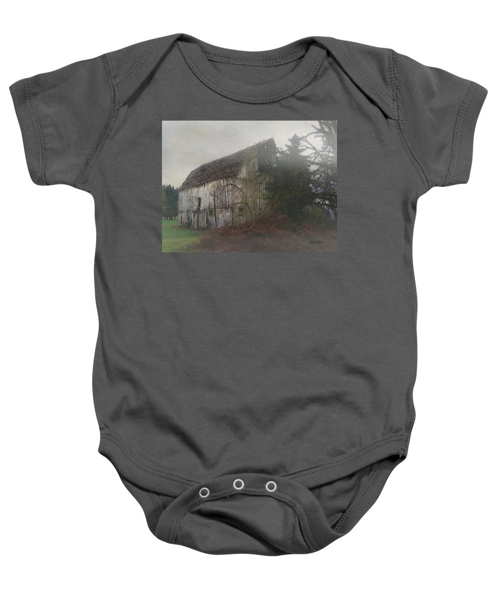 Barn Baby Onesie featuring the painting Oregon Relic by RC DeWinter