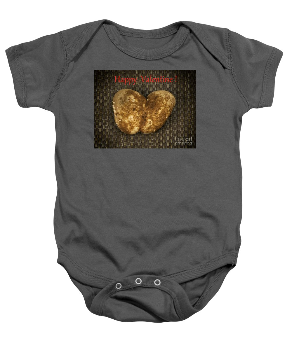 Potato Baby Onesie featuring the photograph Organic Valentine by Les Palenik