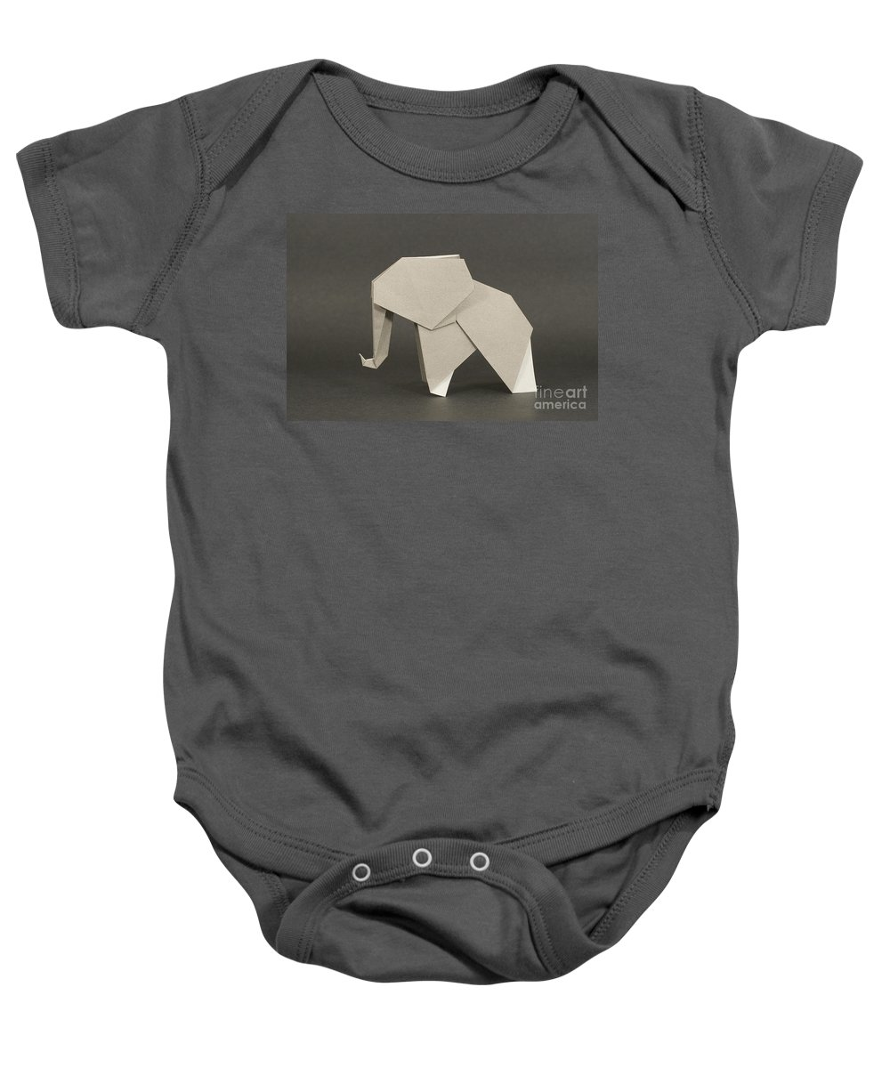 Japanese Origami Elephant Paper Craft Colorful Traditional Culture Education Educational Cultural Nobi's Nobi Nagase Phogotraphy Baby Onesie featuring the photograph Origami Elephant by Nobi Nagase