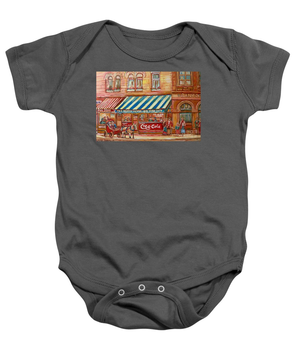 Montreal Scenes Baby Onesie featuring the painting Original Bank Notre Dame Street by Carole Spandau