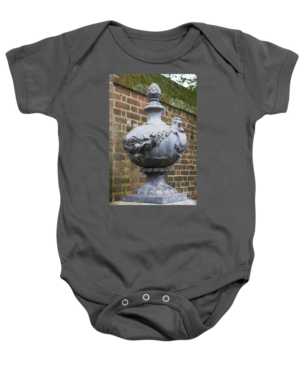 Williamsburg Baby Onesie featuring the photograph Ornate Garden Urn by Teresa Mucha