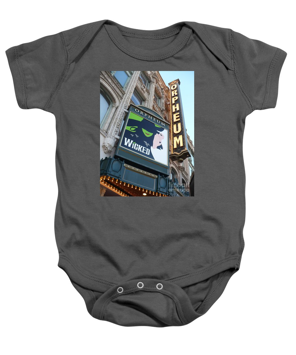 City Baby Onesie featuring the photograph Orpheum Sign by Carol Groenen