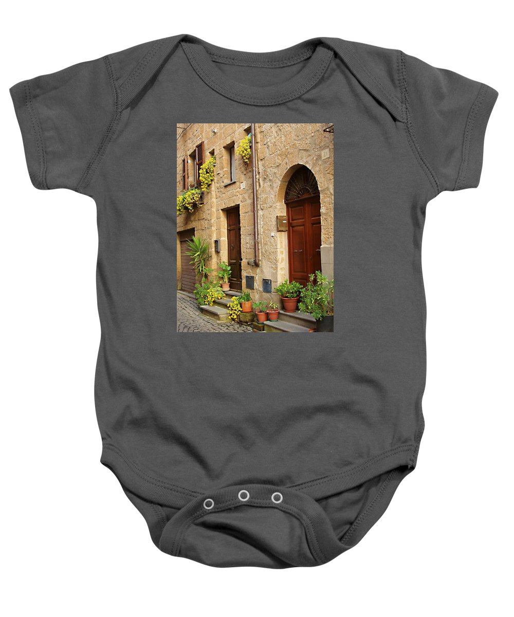 Orvieto Homes Baby Onesie featuring the photograph Orvieto Homes by Ellen Henneke