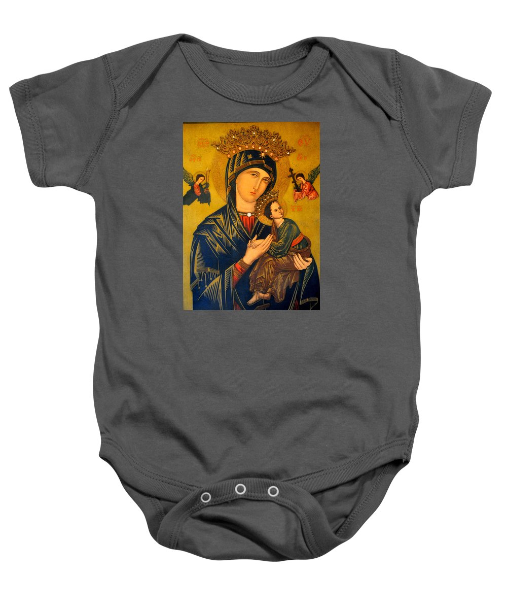 Mother Baby Onesie featuring the photograph Our Mother Of Perpetual Help Rome by Jay Milo