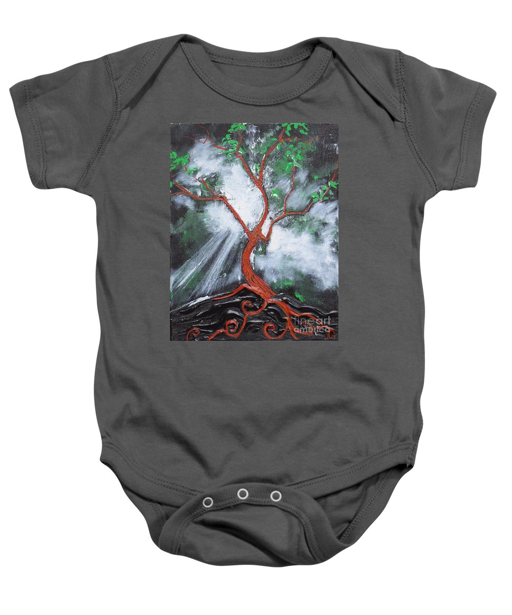 Tree Baby Onesie featuring the painting Out Of Darkness by Stefan Duncan