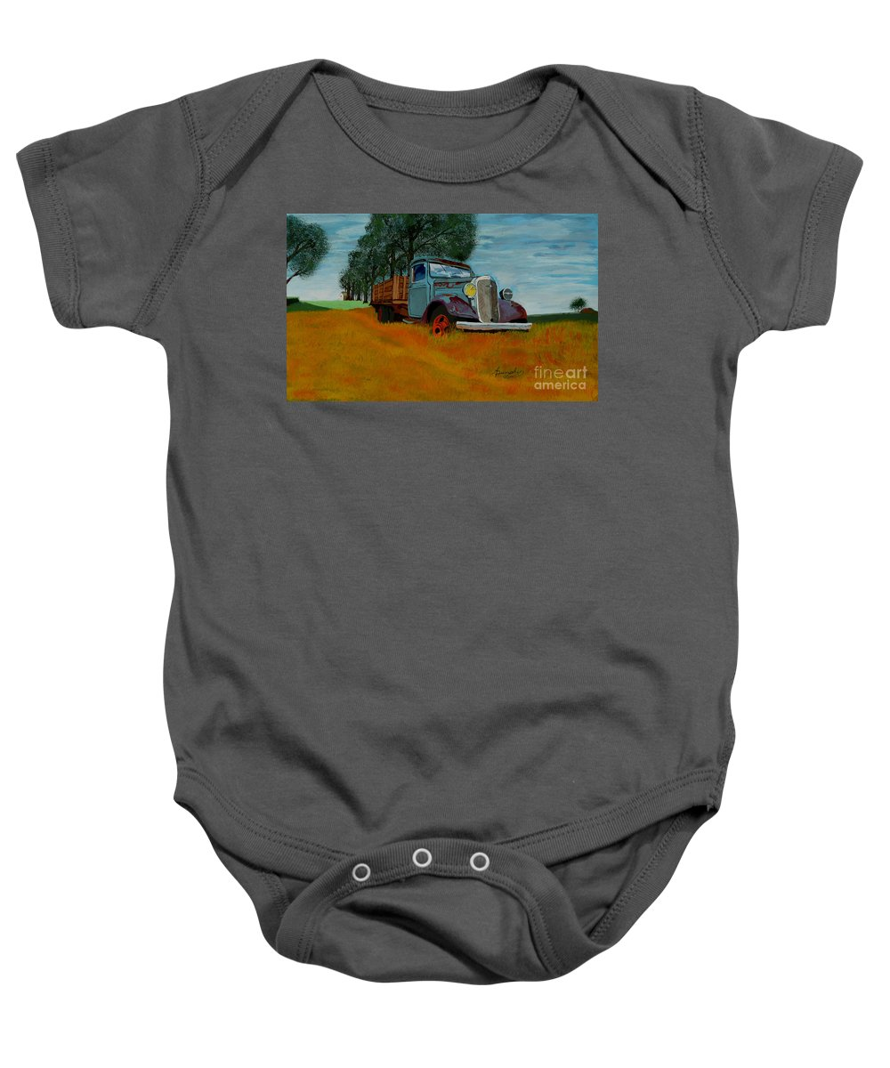 Truck Baby Onesie featuring the painting Out To Pasture by Anthony Dunphy