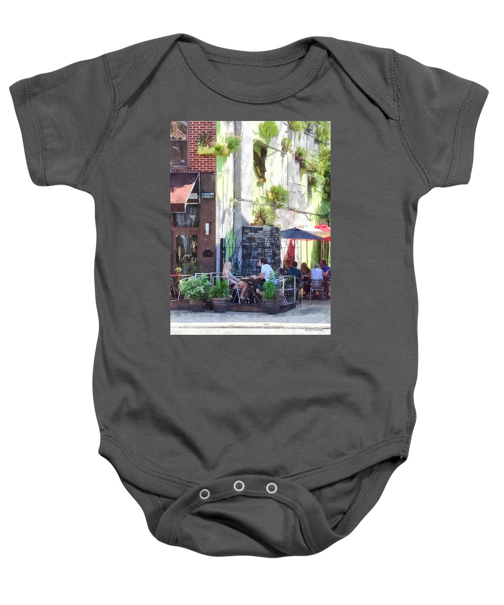 Cafe Baby Onesie featuring the photograph Outdoor Cafe Philadelphia Pa by Susan Savad