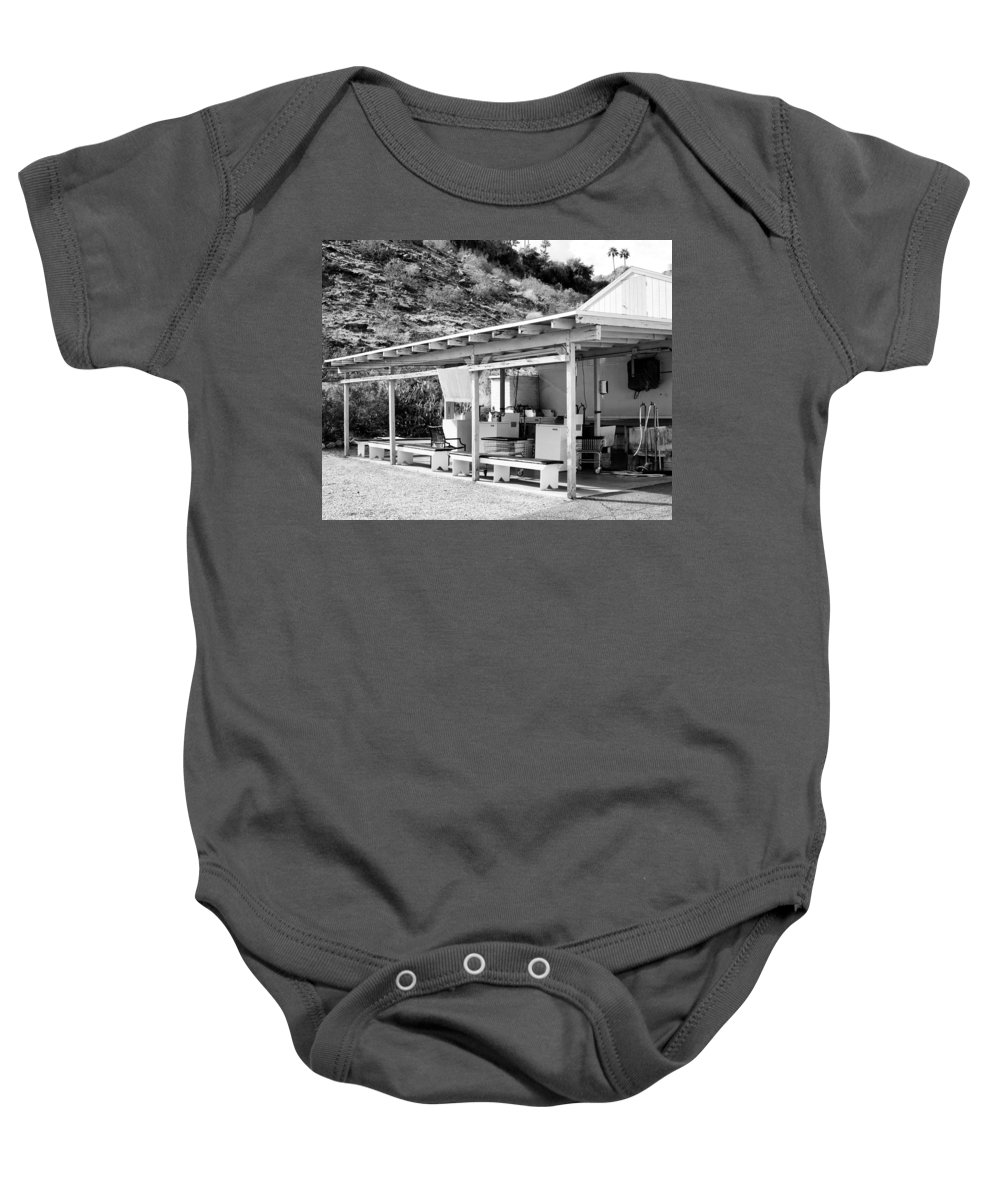 Urban Decay Baby Onesie featuring the photograph Outdoor Laundry Bw Palm Springs by William Dey