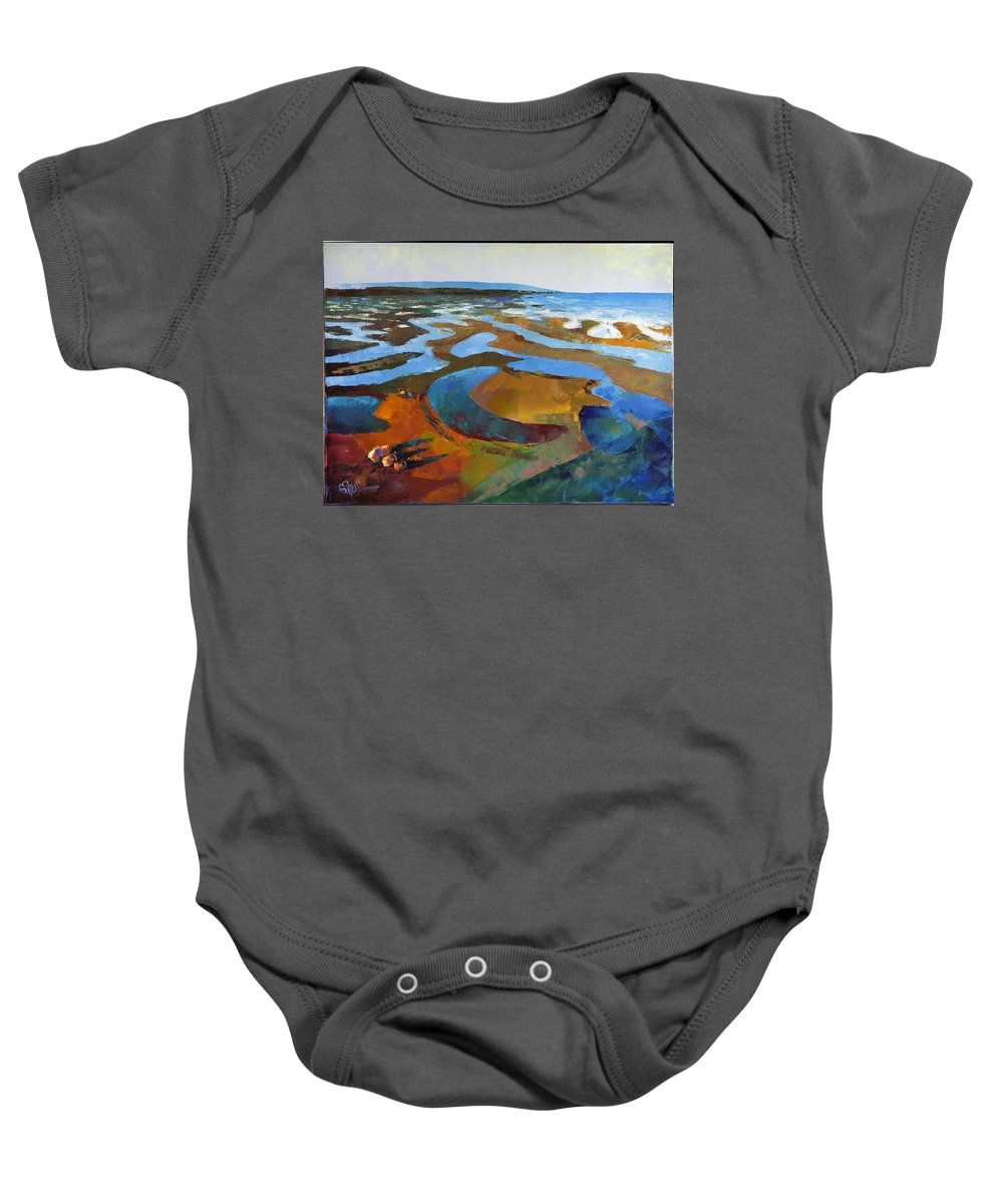 Landscape Baby Onesie featuring the painting Outflow by Barsukov Vladimir