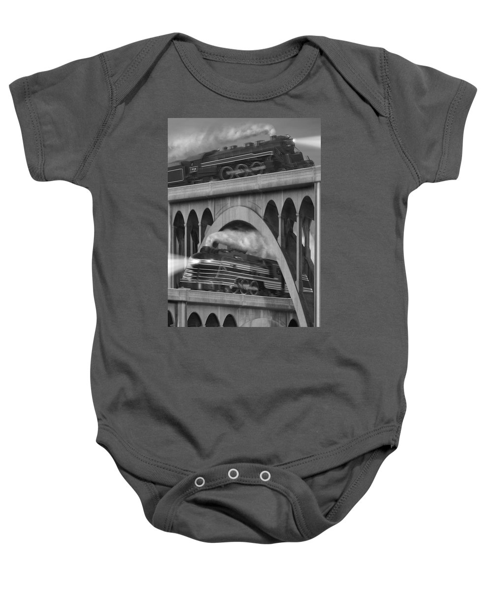 Transportation Baby Onesie featuring the photograph Over And Under by Mike McGlothlen