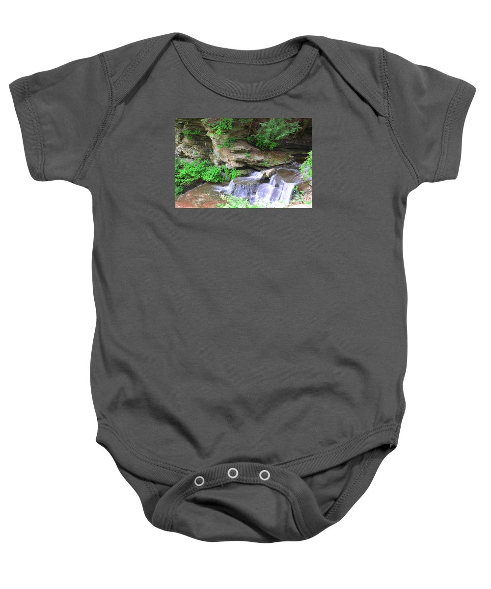 Letchworth Baby Onesie featuring the photograph Over Rocks by Kathleen Struckle