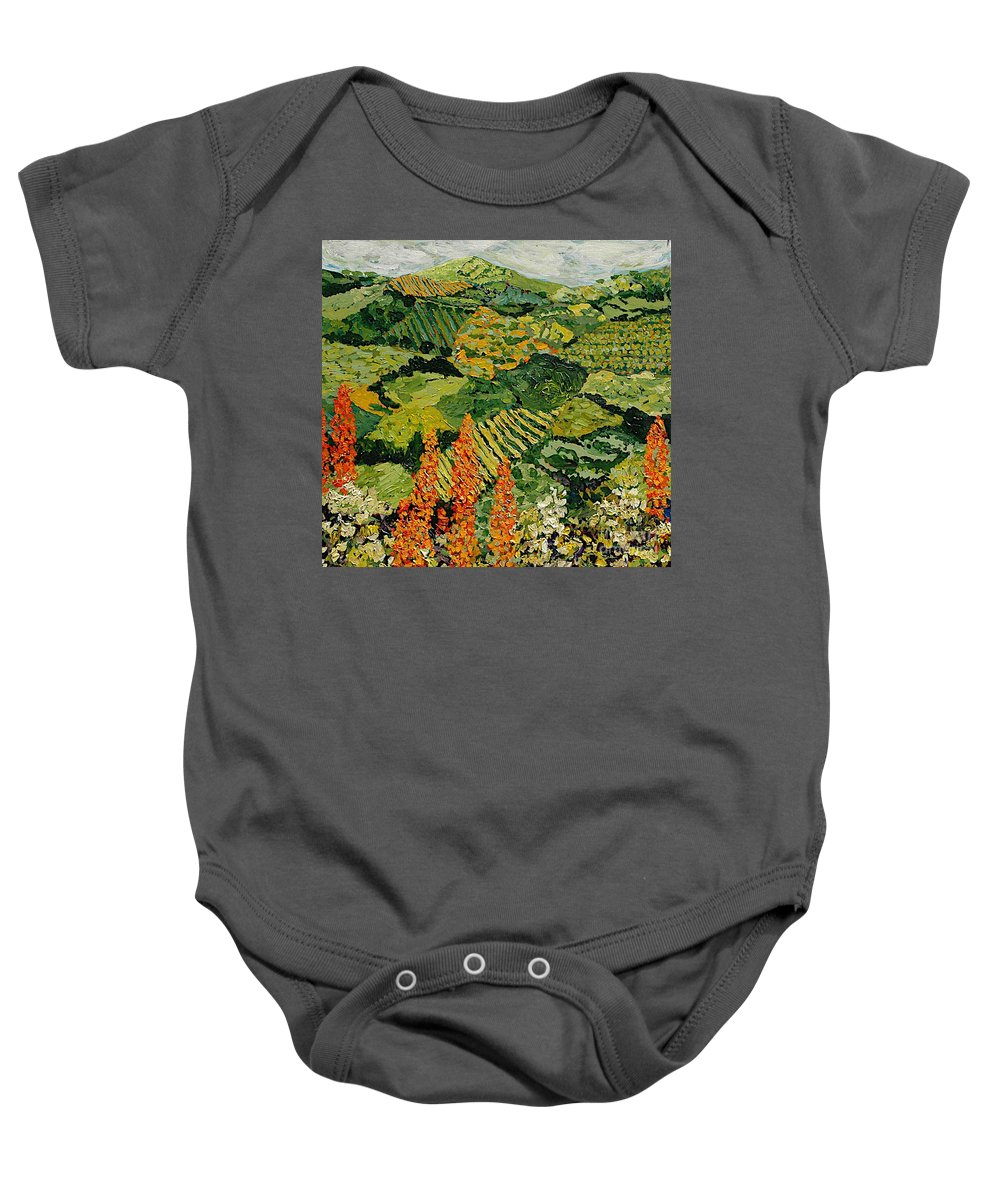 Landscape Baby Onesie featuring the painting Overgrown by Allan P Friedlander