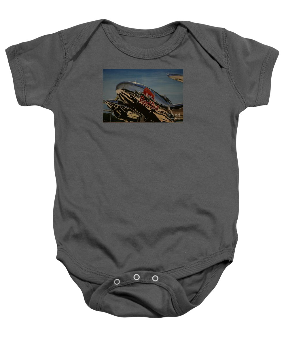 Warbirds Baby Onesie featuring the painting P38 Red Bull Lightning Warbird by Richard John Holden RA