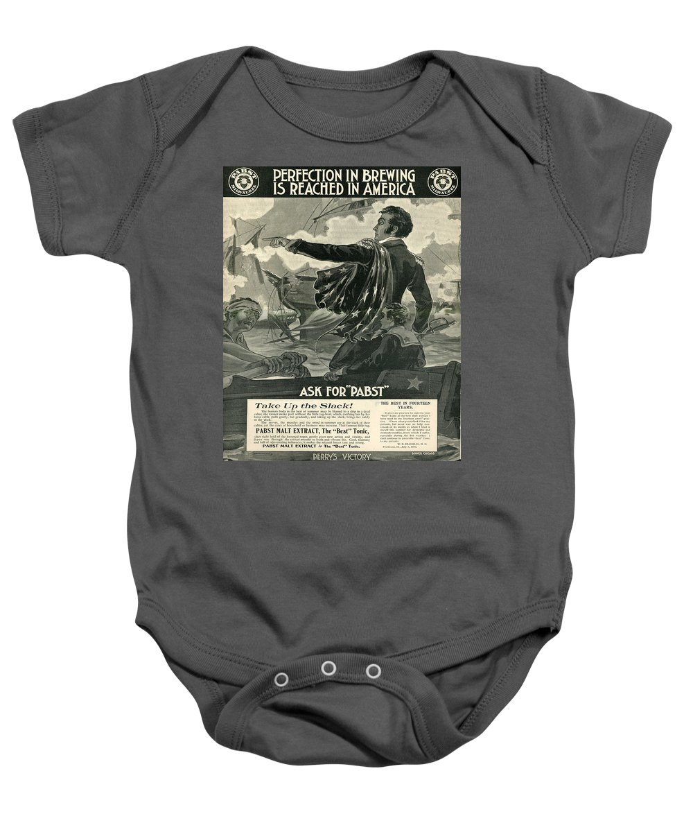 Brewery Baby Onesie featuring the digital art Pabst by Cathy Anderson