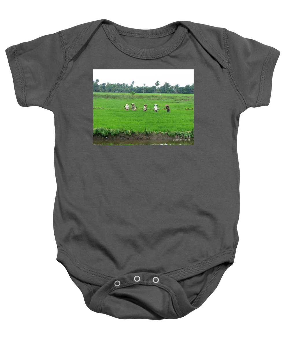 Paddy Field Workers Baby Onesie featuring the photograph Paddy Field Workers by Mini Arora