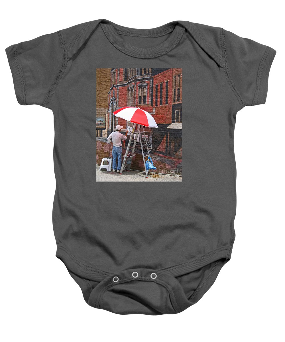 Artist Baby Onesie featuring the photograph Painting The Past by Ann Horn
