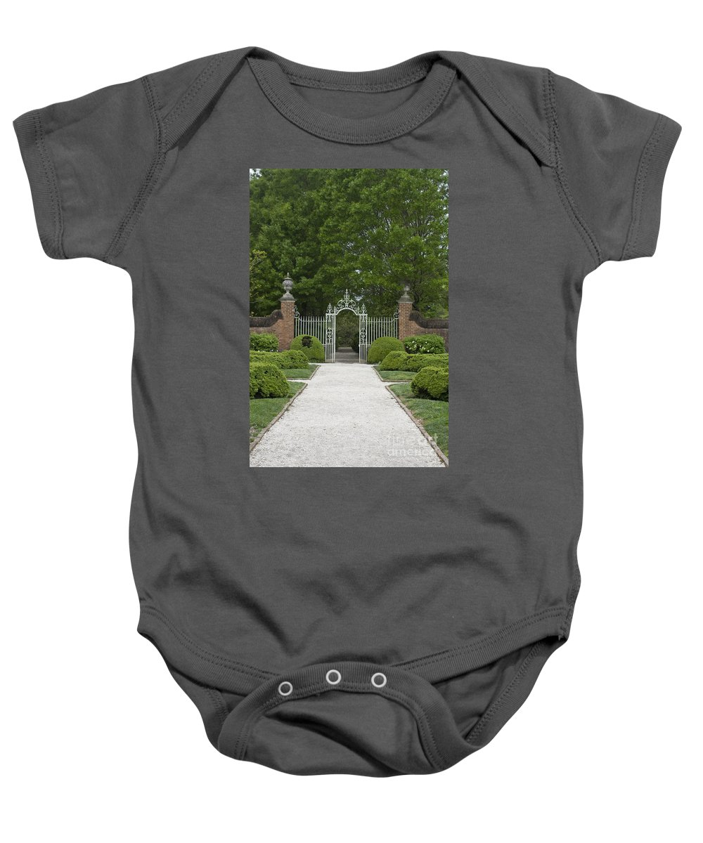 Williamsburg Baby Onesie featuring the photograph Palace Garden Gate by Teresa Mucha