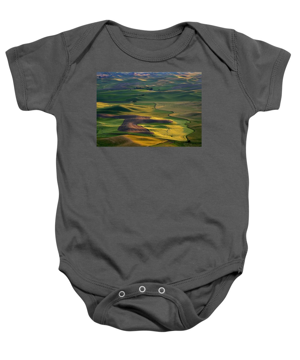 Palouse Baby Onesie featuring the photograph Palouse Shadows by Mike Dawson