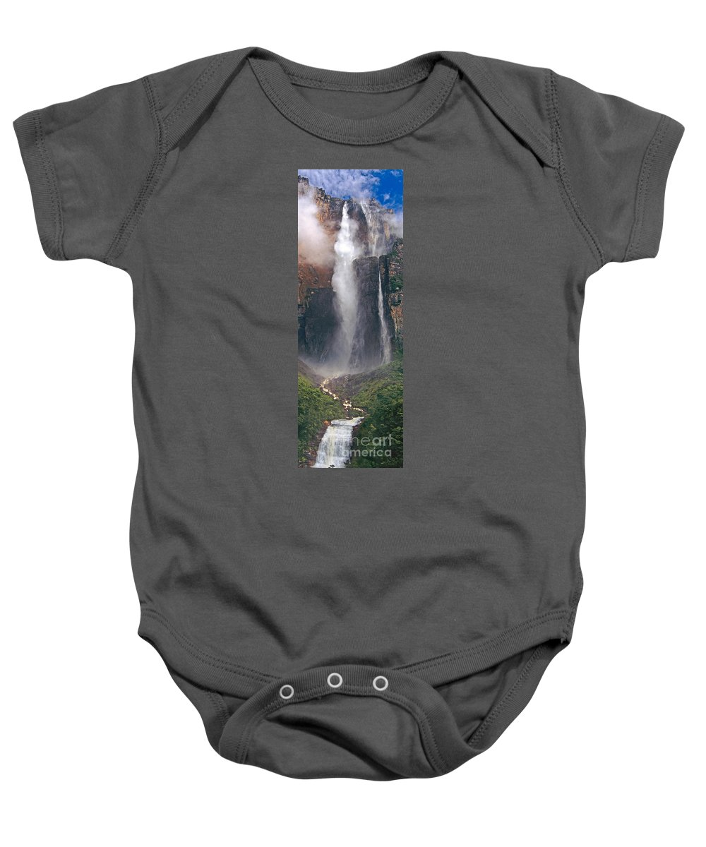 Venezuela Baby Onesie featuring the photograph Panorama Angel Falls In Canaima National Park Venezuela by Dave Welling