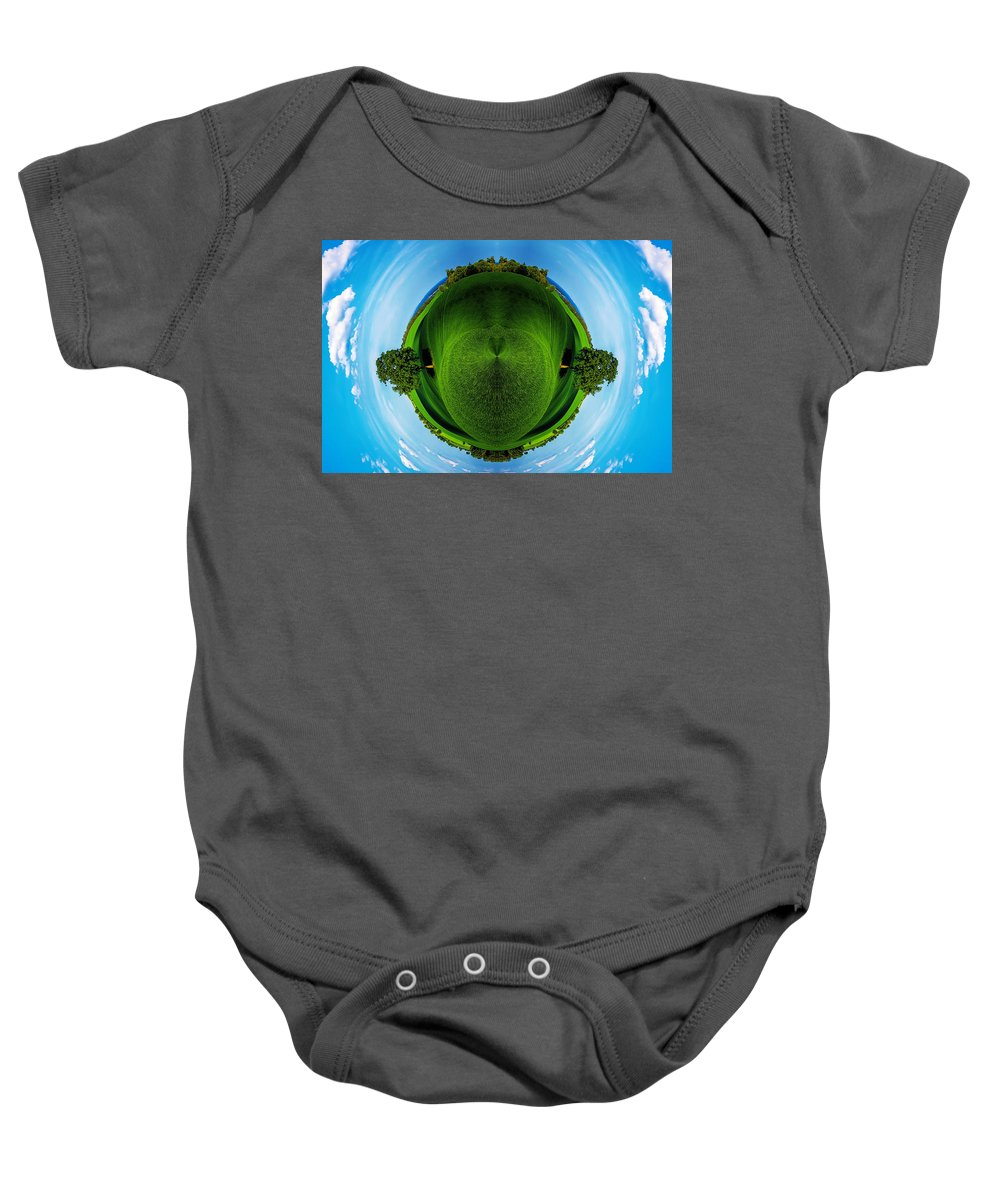 Air Baby Onesie featuring the photograph Panorama Earth Of A Green Meadow And Blue Sky by Nenad Cerovic