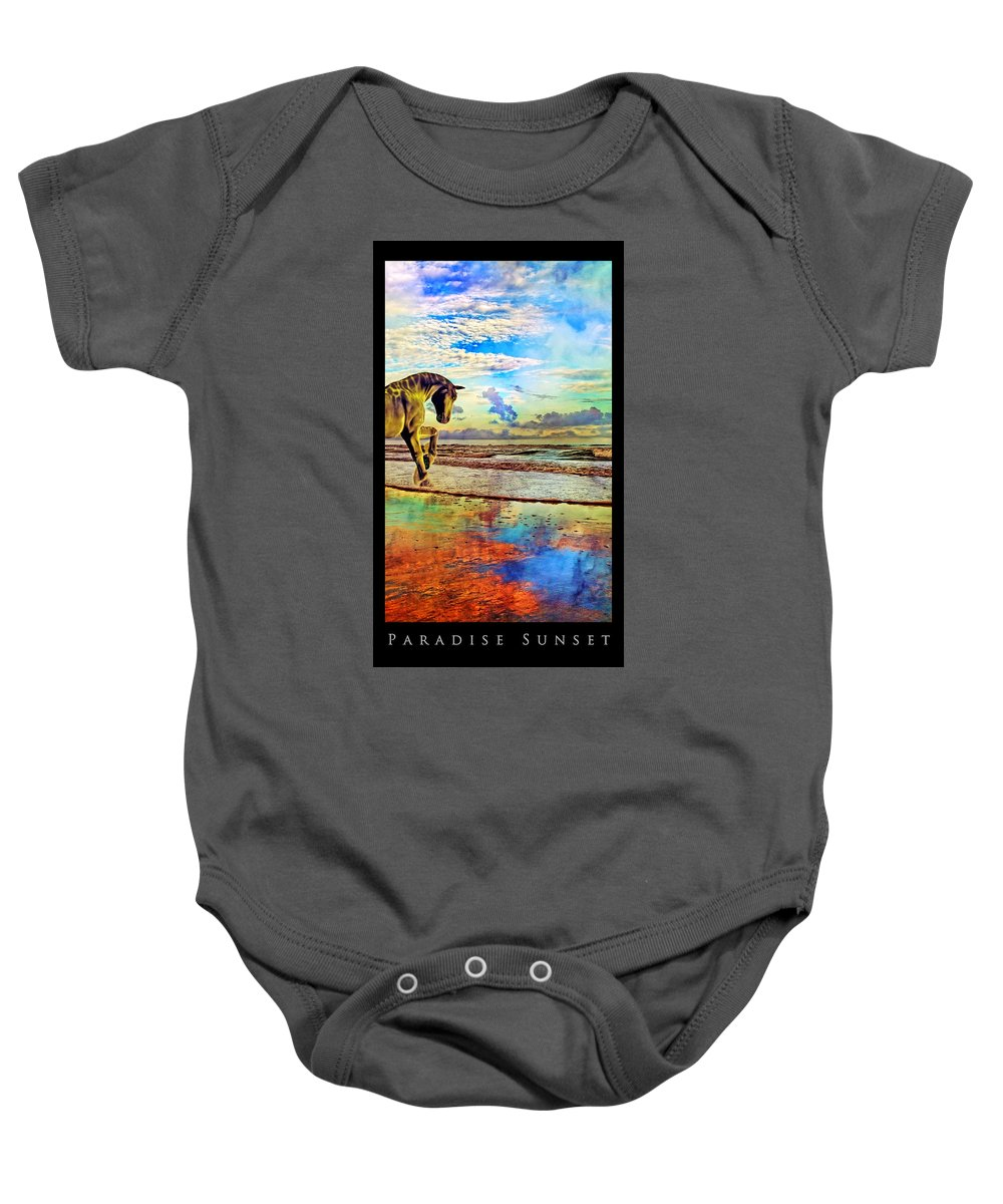 Beach Baby Onesie featuring the mixed media Paradise Sunset by Betsy Knapp