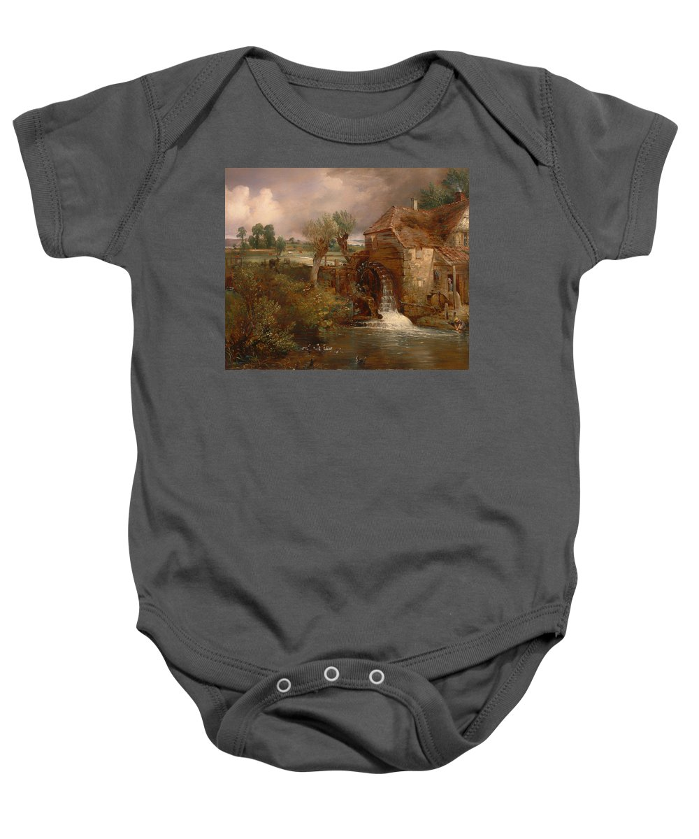 Painting Baby Onesie featuring the painting Parham Mill by Mountain Dreams