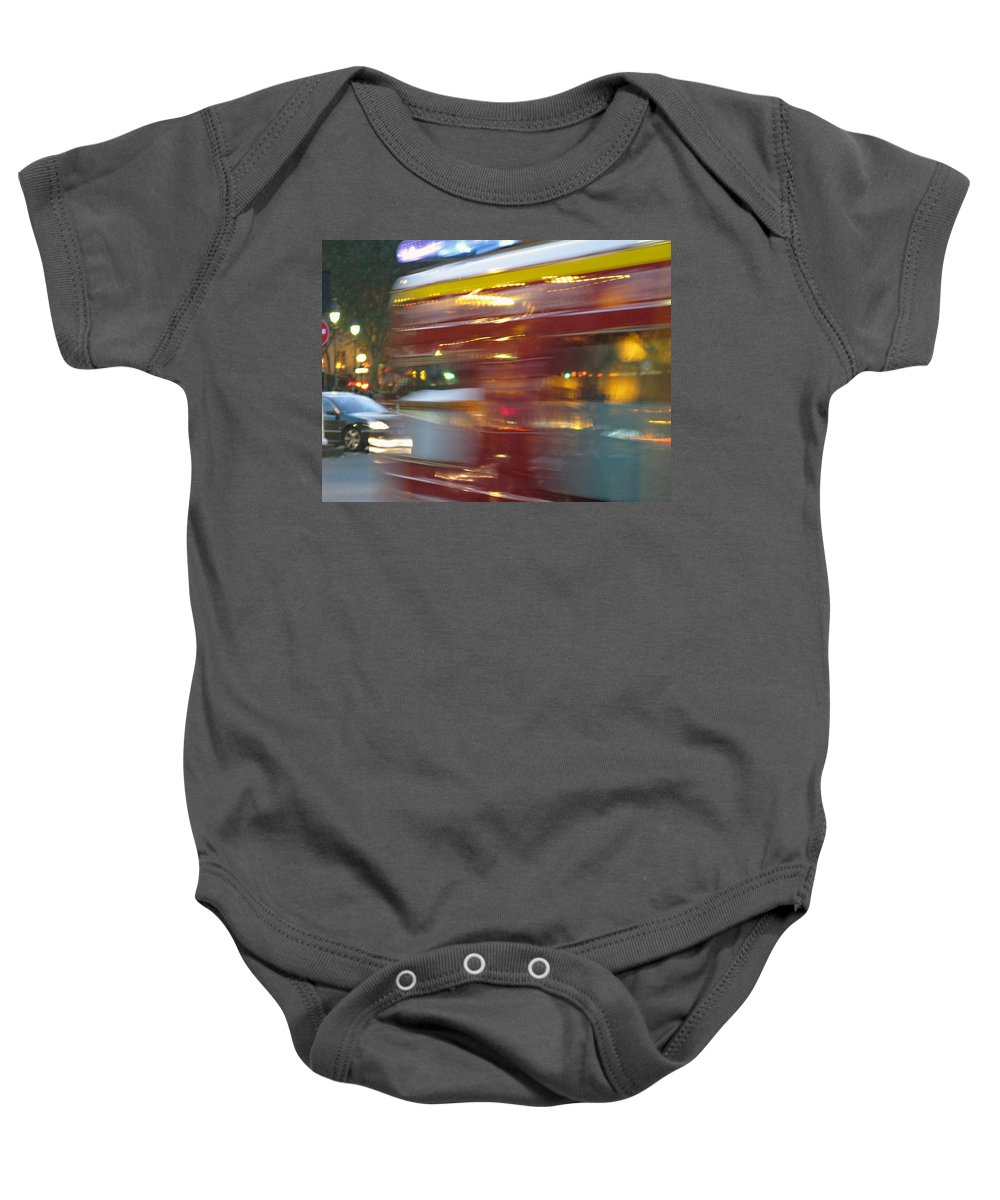 Paris Baby Onesie featuring the photograph Paris Bus Pont Au Change Or One Half Step Away From The Hereafter by Joe Schofield