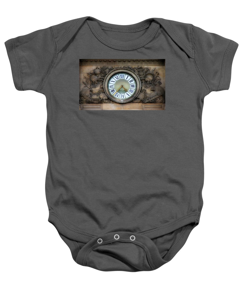 Paris Baby Onesie featuring the photograph Paris Clocks 1 by Andrew Fare