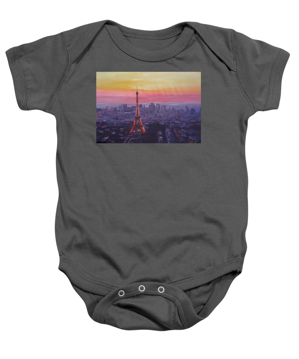 Paris Baby Onesie featuring the painting Paris Eiffel Tower At Dusk by M Bleichner