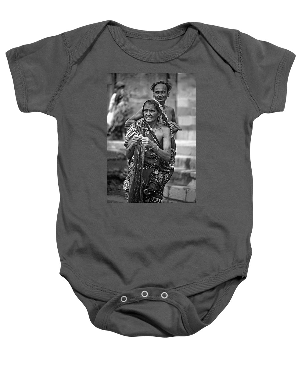 Varanasi Baby Onesie featuring the photograph Partners Bw by Steve Harrington